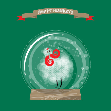 christmas snow globe: Christmas snow globe and sheep. Happy holidays. Vector illustration.
