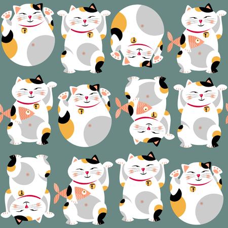 伝統的なアジアの招き猫。招き猫。シームレスな背景パターン。ベクトル図  イラスト・ベクター素材