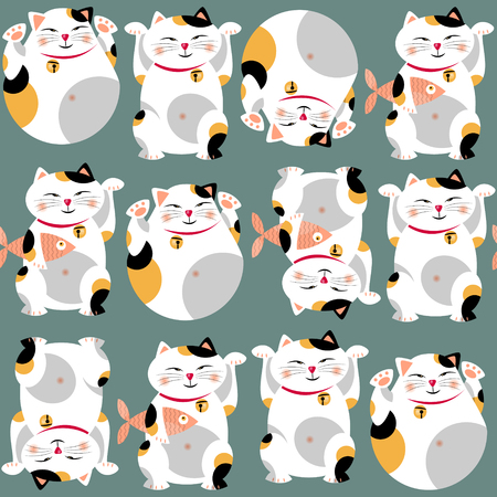 Traditional asian lucky cat. Maneki neko. Seamless background pattern. Vector illustration