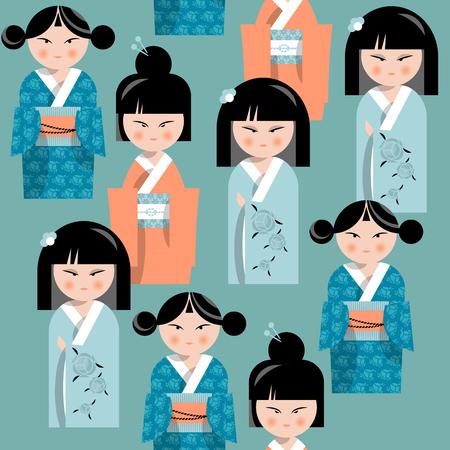 folkart: Traditional japanese doll. Kokeshi dolls. Seamless background pattern. Vector illustration Illustration