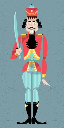 the nutcracker: Traditional christmas nutcracker. Retro toys. Vector illustration Illustration