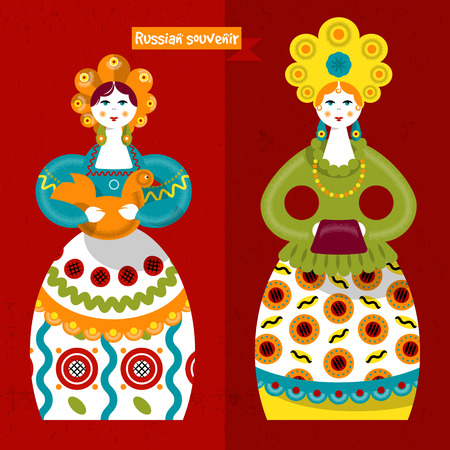 souvenir: Russian traditional handmade doll. Dymkovo toys. Russian souvenir. Vector illustration Illustration