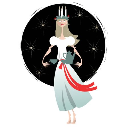 st lucia: Saint Lucia. Swedish Christmas tradition. St. Lucias Day. Scandinavian Christmas. Vector illustration Illustration