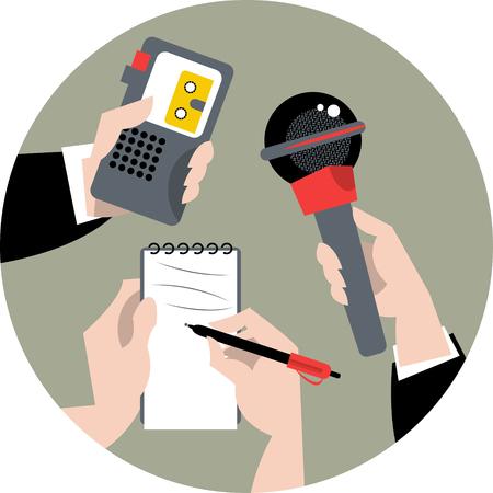 Conjunto de manos que sostienen el micrófono, grabadora de voz y un cuaderno de espiral. Concepto de Periodismo. Ilustración vectorial Foto de archivo - 44891510