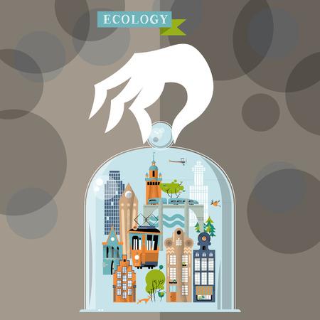 old church: Ecology concept. Colorful urban landscape. Vector illustration Illustration