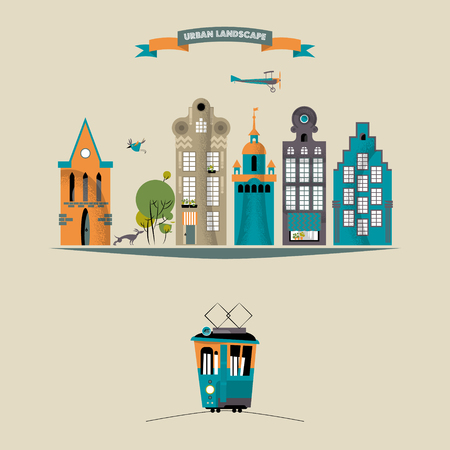 city landscape: Colorful urban landscape. City life. Vector illustration
