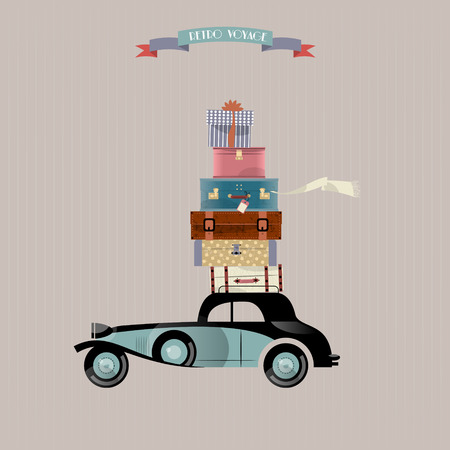 baggage: Retro voyage. Car and stack of suitcases. Travel concept. Vector illustration.