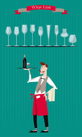 list wine: Waiter with a tray of drinks. Wine List. Wine glasses silhouettes. Vector illustration.