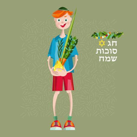 jewish faith: Boy holding ritual plants for Sukkot. Jewish holiday tradition. Vector illustration Illustration