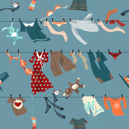 moda ropa: Secado de la ropa de colores en una líneas de lavado. Modelo inconsútil del fondo. Ilustración del vector. Vectores