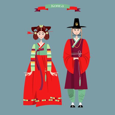 伝統: 韓国の伝統的な衣装で Сouple。韓服。ベクトル図