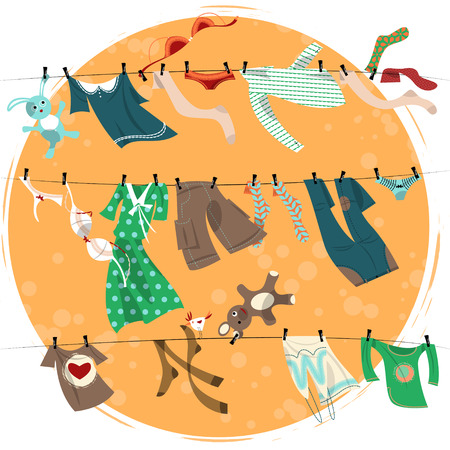 fashion clothes: Colorful laundry drying on a washing lines. Vector illustration
