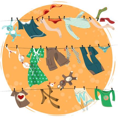 moda ropa: Secado de la ropa de colores en una líneas de lavado. Ilustración vectorial