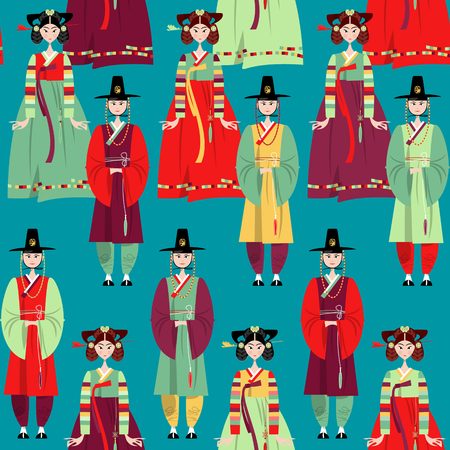 Ð¡ouple in traditional korean dresses. Hanbok. Seamless background pattern. Vector illustration Ilustração