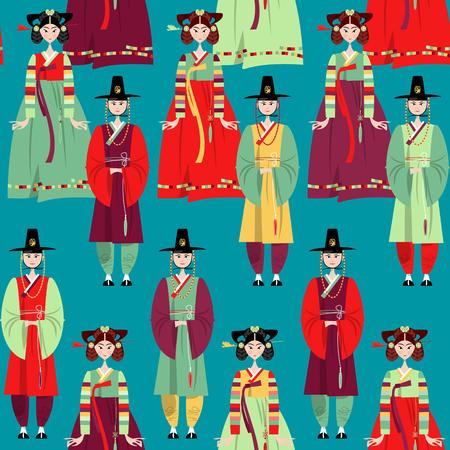 Сouple in traditional korean dresses. Hanbok. Seamless background pattern. Vector illustration Illustration
