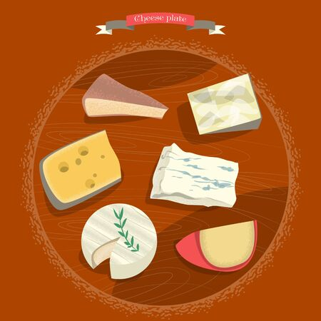 edam: Set of cheeses. Cheese plate. Vector illustration