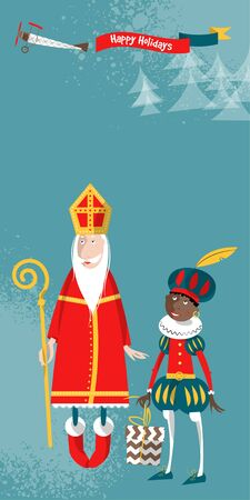 nicolaas: Christmas in Holland. Sinterklaas and Zwarte Piet. Vector illustration. Illustration