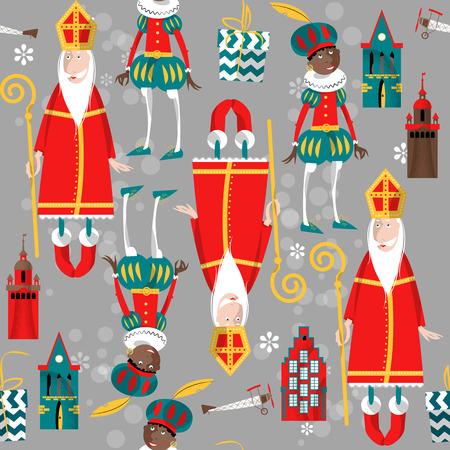 sinterklaas: Christmas in Holland. Sinterklaas and Zwarte Piet. Seamless background pattern.Vector illustration
