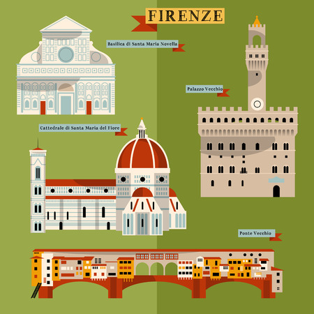 florence: Sights of Florence. Italy, Europe. Vector illustration