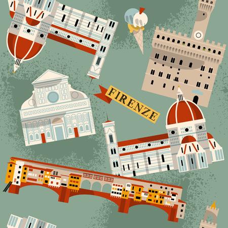 florence italy: Luoghi di Firenze. Italia, Europa. Senza soluzione di continuit� di fondo del modello. Illustrazione vettoriale