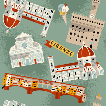 florence   italy: Sights of Florence. Italy, Europe. Seamless background pattern. Vector illustration