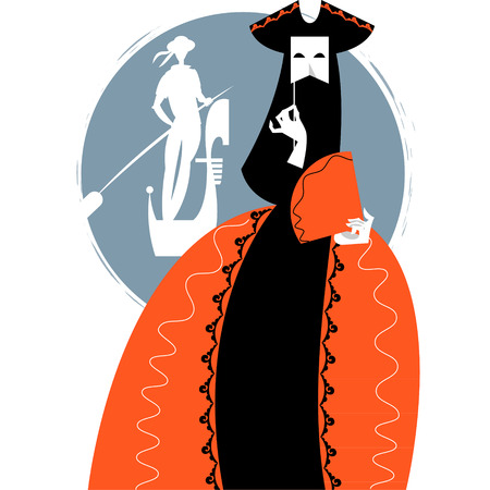 gondolier: Carnival of Venice. Woman with a mask and gondolier. Vector illustration