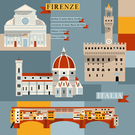 florence italy: Luoghi di Firenze. Italia, Europa. Vettore illustrationFl