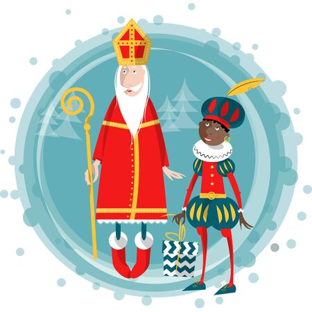 piet: Christmas in Holland. Sinterklaas and Zwarte Piet. Vector illustration. Illustration