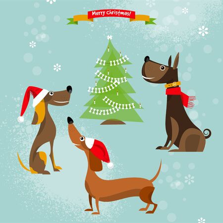 doggie: Holiday for dogs. Merry Christmas. Vector illustration Illustration