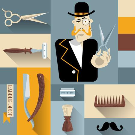 hairstylist: Set of vintage barber shop and hairdresser icons. Vector illustration. Illustration