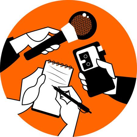 Conjunto de manos que sostienen el micrófono, grabadora de voz y un cuaderno de espiral. Concepto de Periodismo. Ilustración vectorial