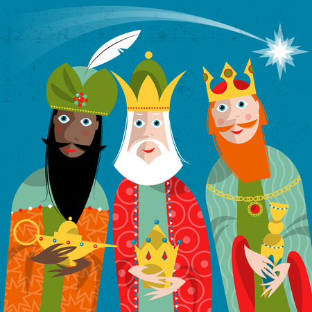 Drie Koningen. Drie wijze men.Vector illustratie. Stockfoto - 45278795