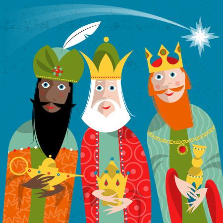 reyes magos: Tres Reyes. Tres ilustraci�n men.Vector sabio.