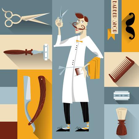 set of men hair styling: Set of vintage barber shop and hairdresser icons. Vector illustration. Illustration