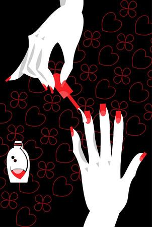applying: Woman applying nail polish on fingers. Manicure. Vector illustration