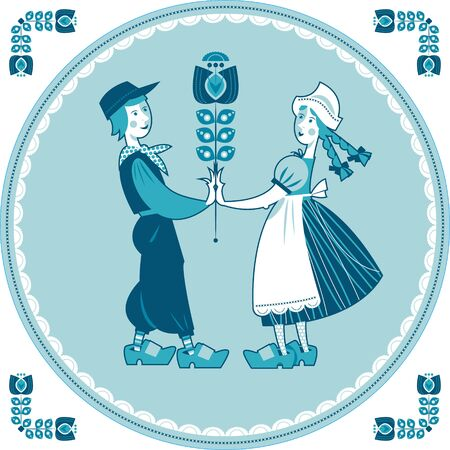 typical: Dutch Delft blue tile with a couple. Vector illustration.