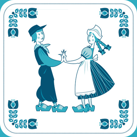 wooden shoes: Dutch Delft blue tile with a couple. Vector illustration.