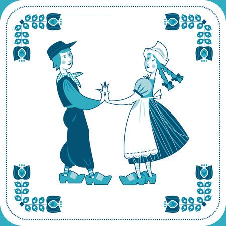 dutch tiles: Dutch Delft blue tile with a couple. Vector illustration.