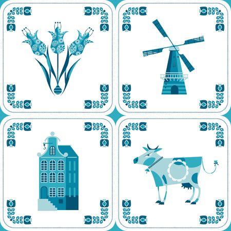 Dutch Delft blue tiles with pictures. Vector illustration