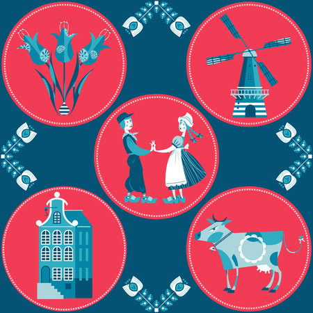 dutch tiles: Seamless pattern with Dutch traditional elements. Vector illustration.