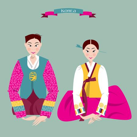 Ð¡ouple in traditional korean dresses. Seollal. Lunar New Year. Korean tradition. Vector illustration
