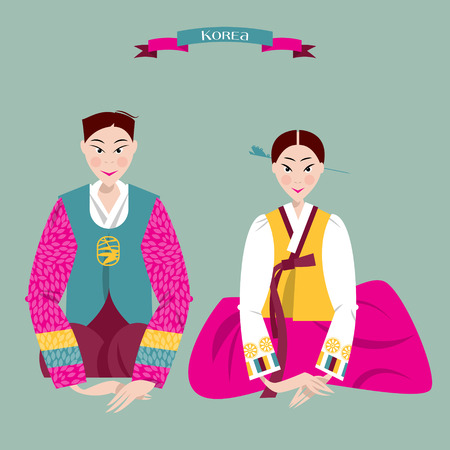 tradition traditional: Сouple in traditional korean dresses. Seollal. Lunar New Year. Korean tradition. Vector illustration Illustration