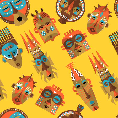 traditional pattern: African masks. Seamless background pattern. Vector illustration Illustration