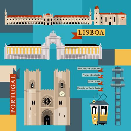Sights of Lisbon. Portugal, Europe. Vector illustration