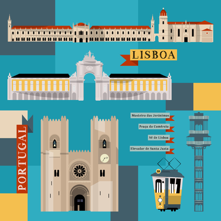Sights of Lisbon. Portugal, Europe. Vector illustration