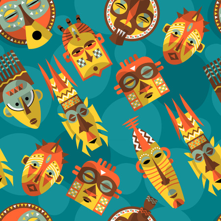 african warriors: African masks. Seamless background pattern. Vector illustration Illustration