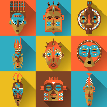 Set of african masks. Vector illustration Çizim