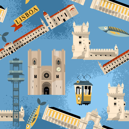 dos: Sights of Lisbon. Portugal, Europe. Seamless background pattern. Vector illustration