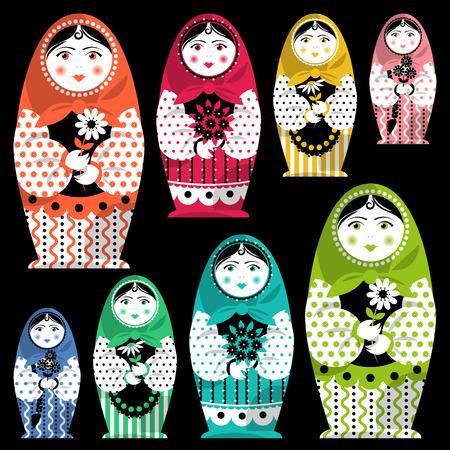 folkart: Russian traditional handmade doll. Matryoshka. Russian souvenir. Vector illustration Illustration