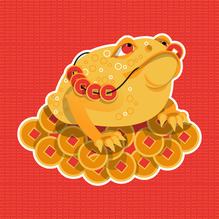 feng shui: Feng Shui talisman. Money Frog. Vector illustration